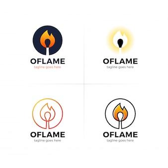 Lettera o logo con fuoco bruciare partita al centro.