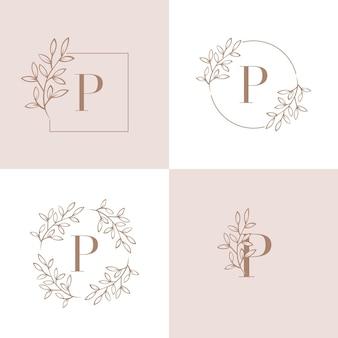 Lettera p logo design con elemento foglia di orchidea