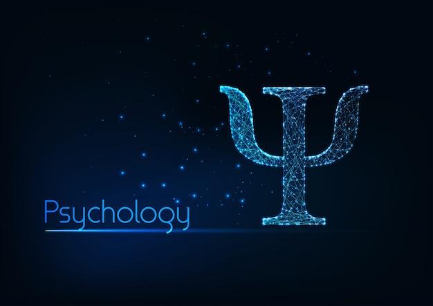 Lettera psi poligonale bassa incandescente futuristica, simbolo di psicologia isolato su sfondo blu scuro.
