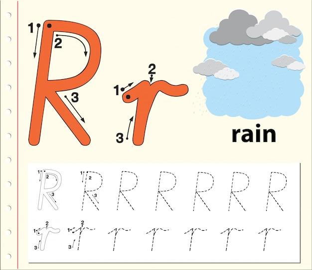 Lettera r che traccia i fogli di lavoro dell'alfabeto