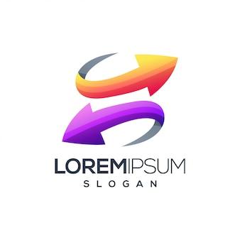 Lettera s freccia logo design vettoriale