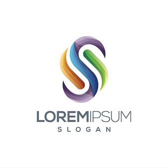 Lettera s logo gradiente di colore