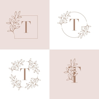 Lettera t logo design con elemento foglia di orchidea