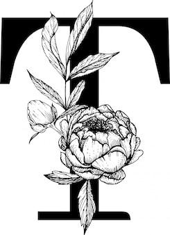 Lettera t. monogramma di matrimonio floreale con alfabeto botanico