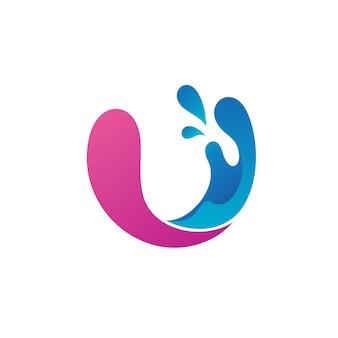 Lettera u con water splash logo vettoriale