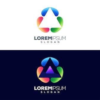 Lettera un design colorato logo