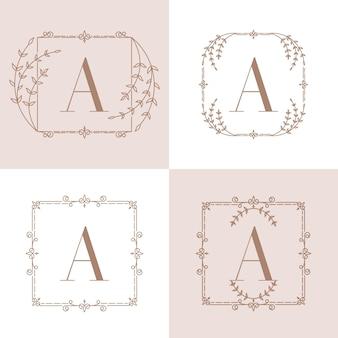 Lettera un logo con cornice floreale