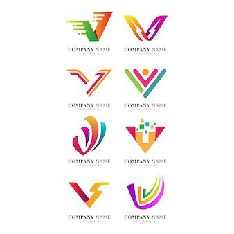 Lettera v collezione logo identità aziendale