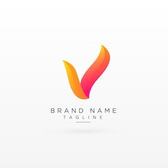 Lettera v disegno creativo colorato del logo