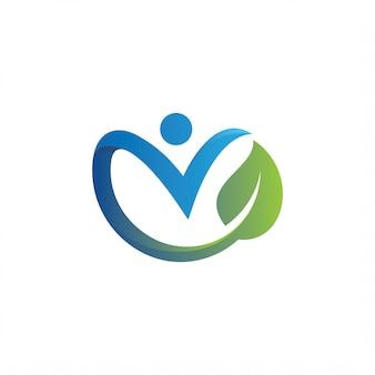 Lettera v foglia modello logo design