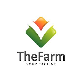 Lettera v gradiente logo fattoria