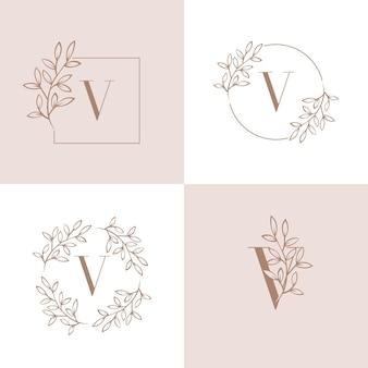 Lettera v logo design con elemento foglia di orchidea