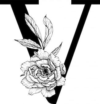 Lettera v. monogramma di cerimonia nuziale con alfabeto botanico