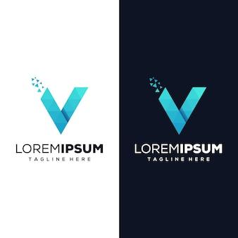 Lettera v pixel logo design