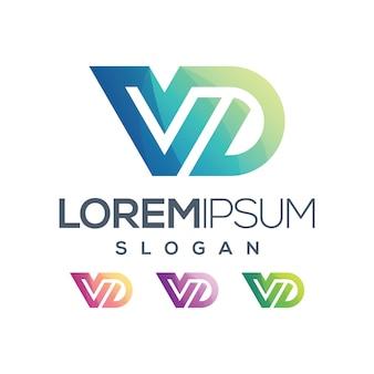Lettera vd disegno a colori sfumati logo