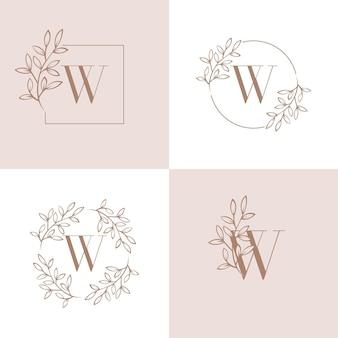 Lettera w logo design con elemento foglia di orchidea