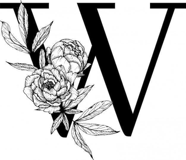 Lettera w. monogramma di nozze con alfabeto botanico