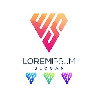 Lettera ws ispirazione gradiente logo a colori
