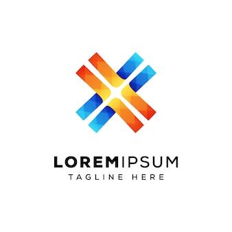 Lettera x linea logo design premium vettoriale