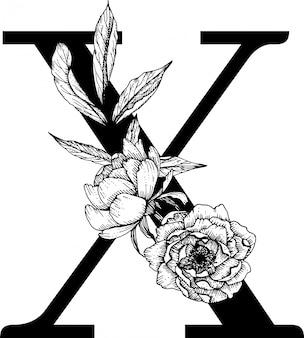 Lettera x. monogramma di matrimonio floreale con alfabeto botanico