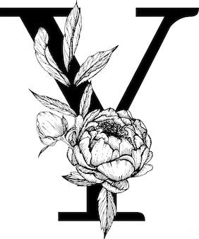 Lettera y. monogramma di cerimonia nuziale con alfabeto botanico