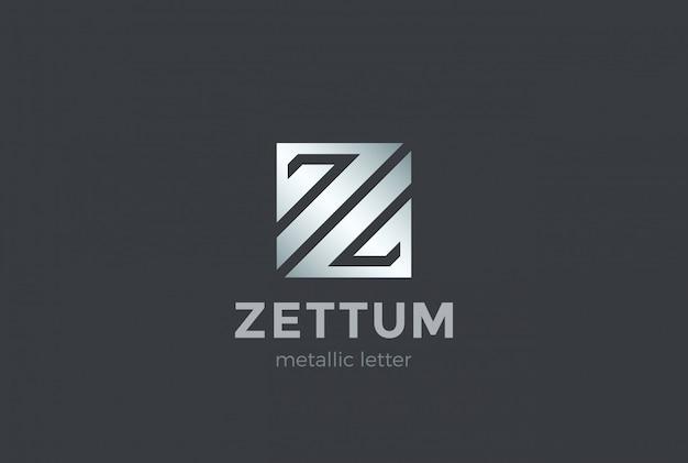 Lettera z forma quadrata logo design modello metallico. icona di concetto del logotype di scienza di tecnologia di affari di affari finanziari corporativi