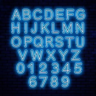 Lettere al neon di vettore, blu e bianco.