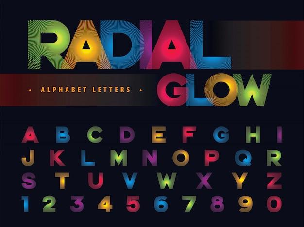 Lettere alfabeto radiale bagliore