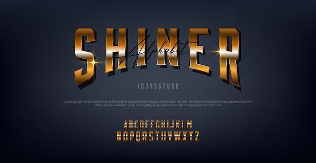 Lettere d'oro shiner tipografia carattere regolare digitale e concetto classico