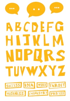 Lettere decorative disegnate a mano del fumetto.