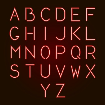 Lettere dell'alfabeto al neon rosso incandescente dalla a alla z.
