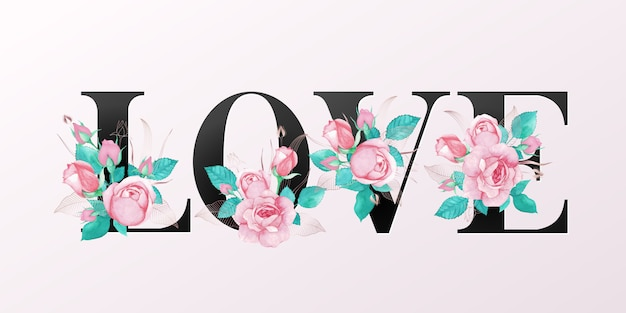 Lettere dell'alfabeto con fiori ad acquerelli