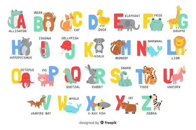 Lettere dell'alfabeto da forme di animali