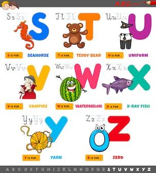 Lettere dell'alfabeto educativo del fumetto messe