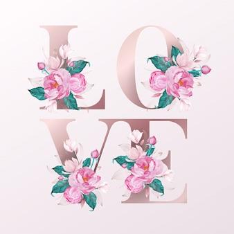 Lettere dell'alfabeto oro rosa decorate con stile acquerello fiore