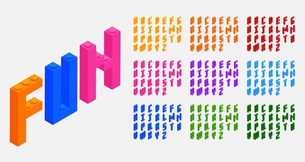 Lettere di alfabeti dei giocattoli dei mattoni dei blocchi di plastica messe