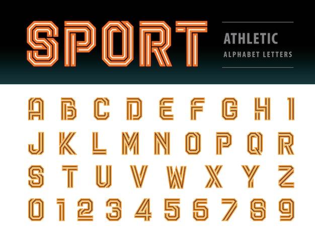 Lettere di alfabeto atletico, carattere geometrico, sport, futuro futuristico