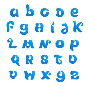 Lettere di alfabeto inglese di ecologia con goccia dell'acqua e spazio negativo. stile del carattere, elementi del modello di progettazione.