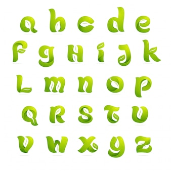 Lettere di alfabeto inglese di ecologia con le foglie e lo spazio negativo. stile del carattere, elementi del modello di progettazione.