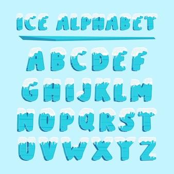 Lettere di carattere neve alfabeto tipografia ghiaccio