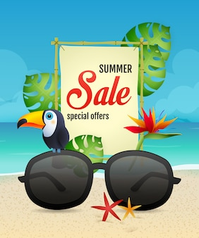 Lettere di saldi estivi con tucano e occhiali da sole