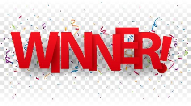 Lettere di segno vincitore con coriandoli colorati