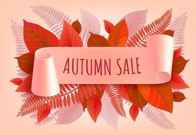 Lettere di vendita autunnale con foglie stilizzate. offerta autunnale o pubblicità pubblicitaria