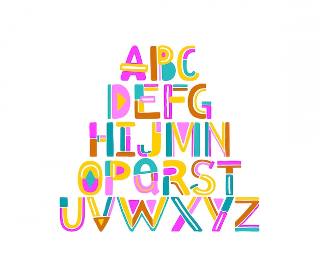Lettere geometriche colorate astratte disegnate a mano dalla a alla z.