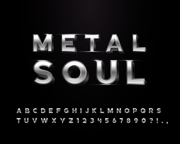Lettere in metallo cromato con alcuni oggetti trasparenti a bagliore