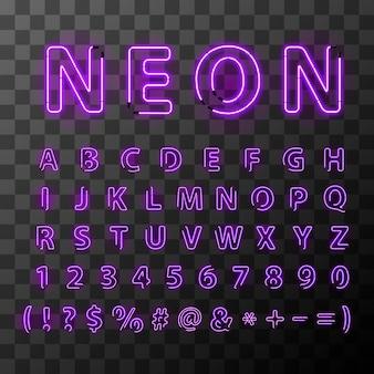 Lettere luminose al neon ultravioletto. carattere di lettere al neon su sfondo trasparente lettere compilate da tubi al neon.