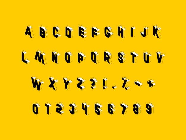 Lettere maiuscole isometriche, numeri e segni sul giallo