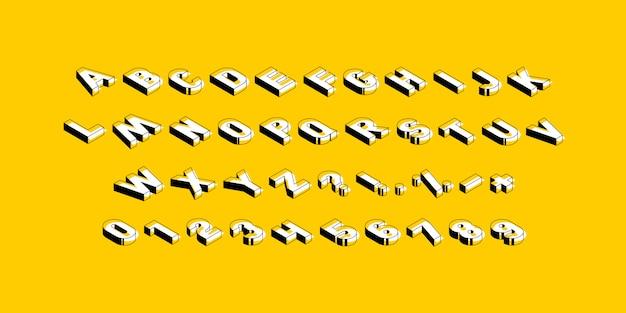 Lettere maiuscole isometriche, numeri e simboli su sfondo giallo.