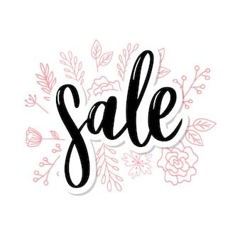 Lettere nere: vendita, mano abbozzata tipografia scritta di vendita