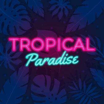 Lettering al neon con foglie tropicali